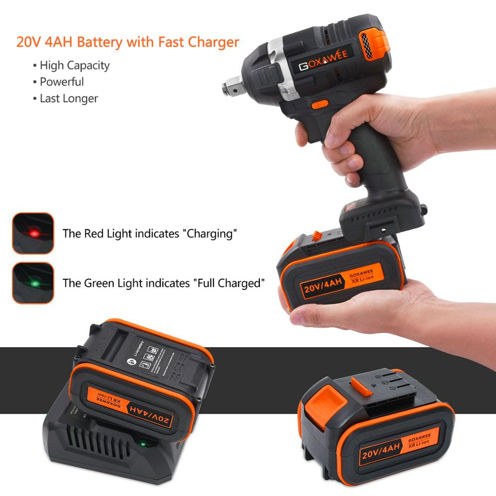 Image 4 - GOXAWEE 21V Cordless Electric Wrench Impact Driver Socket Wrench 4000mAh Lithium Battery Hand Drill Installation Power Tools-in Electric Wrenches from Tools on