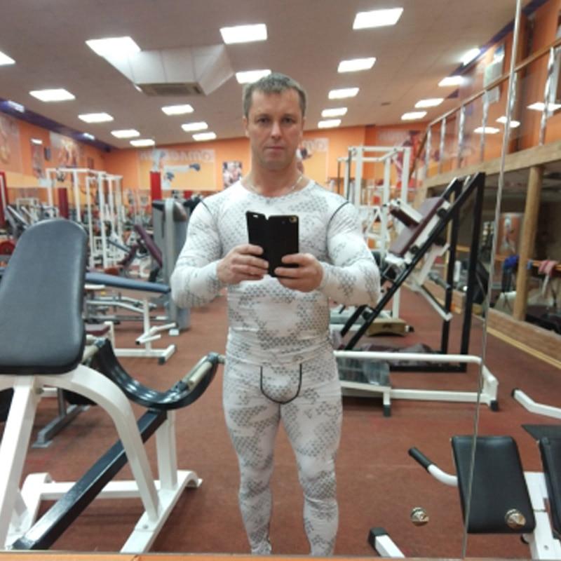 Camouflage Tracksuit Men Compression Clothing Long Sleeve Shirt +Sport Leggings Rashgard Male Fitness Thermal Union Suit XXXL