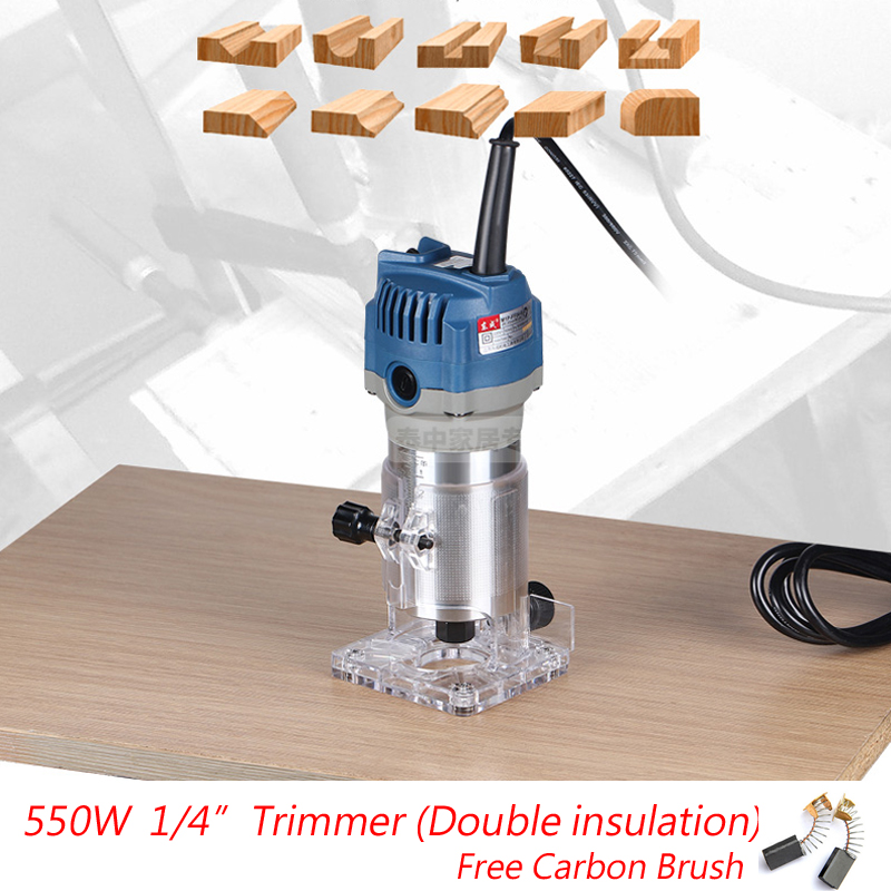 ФОТО 1/4 Trimmer 6.35mm Electric Woodworking Trimmer 550W Electric Trimmer 220-240V Wood Router Electric Wood Edge(Double-insulated)