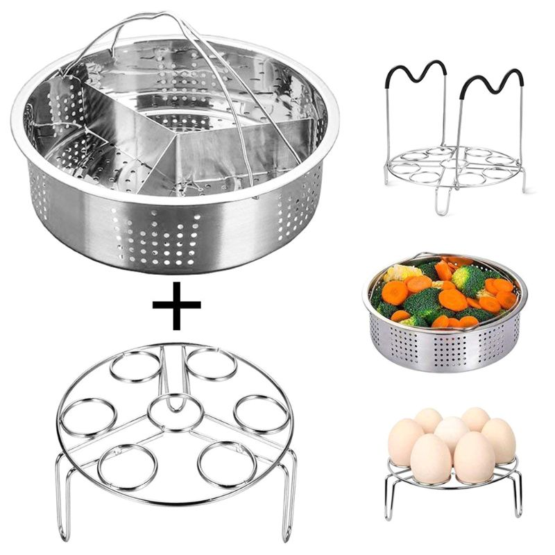 3pcs/set Stainless Steel Egg Steamer Basket Rack Divider Instant Pot Non-stick Pressure Cooker Accessories
