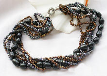 Ожерелье из искусственного жемчуга черного кофе 7 рядов 4 13