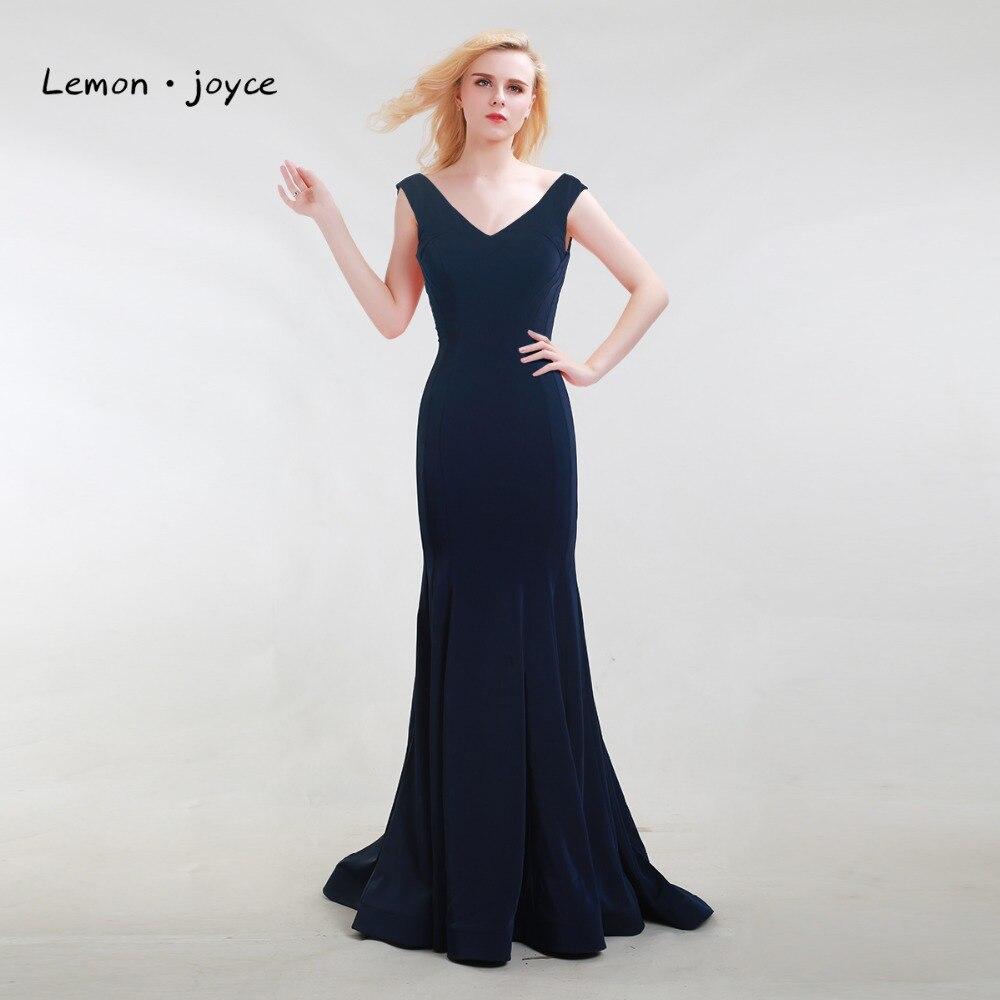 Lemon joyce Dark Blue Elegant Evening Dresses Long 2019 New Style V neck Backless Simple Prom