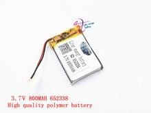 3.7V lithium polymer battery 6.5*2338 652338 800mAh MP3 MP4 GPS Bluetooth 6.5*23*38mm lithium battery small stereo bluetooth GPS
