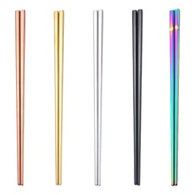 1 Pair 23cm Square Chopsticks Stainless Steel Titanium Gold Rose Sushi Hashi Colorful