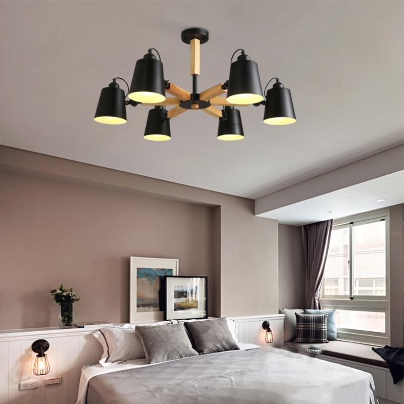 Image 5 - Nordic simple wooden E27 220V LED steering chandelier black&white two color iron chandelier for dining room living room bedroom-in Pendant Lights from Lights & Lighting