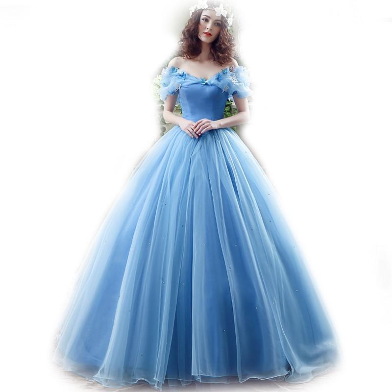 Blue Cinderella Wedding Dresses  Ball Gown Wedding Dress Bridal Gowns  Cap Sleeves robe de Marry Halloween 26240