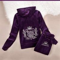 Spring Women Tracksuits 10 Colors Crowne Pattern Embroidery Velvet Sport Suit Women S Clothing Moleton