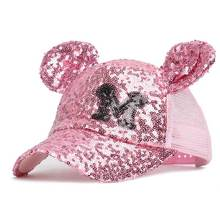 Cute Girls Hat with Ears Baseball Cap Girl Snapback Sequined 50-54cm Pink Sliver Gold Black