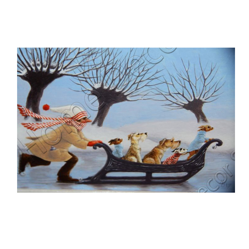 RM0145 NEW Needlework 5D Full Diamond Embroidery Sled Dog DIY Diamond Painting Cross Stitch Diamond Mosaic Home Decoration ...