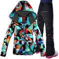 Freies Verschiffen Wasserdichte Gsou Schnee Ski Anzug, Doppel Deck Snowboard Frauen Schnee Jacke + Hosen Warme Kleidung Winddicht
