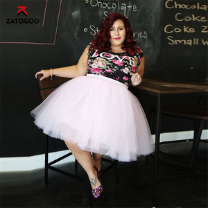 Image 5 - Summer Tulle Pleated Tutu Skirt plus Large Size Party Street Casual Women Ball Gown Skirt Dance White Pink Green Black Gray Fat