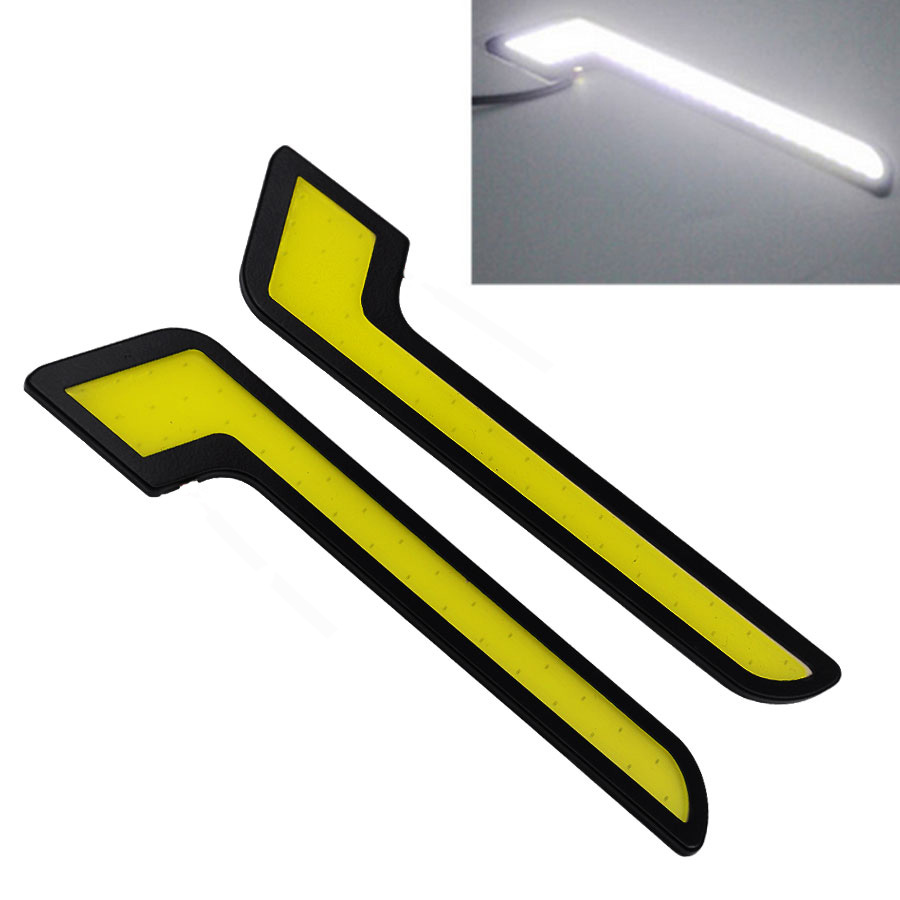 Car styling DRL Daytime Running Led Bar COB DC 12V Car Lights Waterproof Ultrathin Light Fog Driving Lamp Bright White 6000K suprer bright 2pcs 30cm 12v daytime running lights waterproof car drl cob driving fog lamp flexible led strip car styling