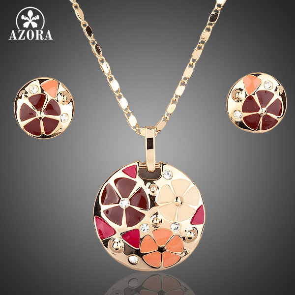 AZORA Gold Color Multicolour Flower Design Stud Earrings and Pendant Necklace Jewelry Sets TG0004