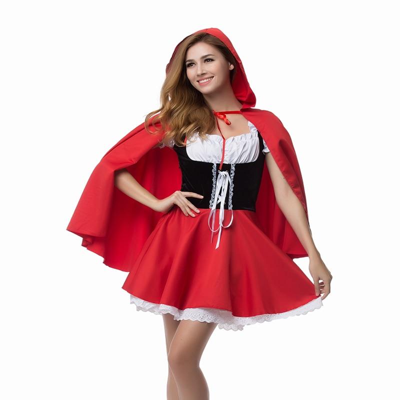 High Quality Little Red Riding Hood Costume Fancy Adult Hallowen Dressing Up Fantasia Feminina Christmas Costumes Plus Size 6XL