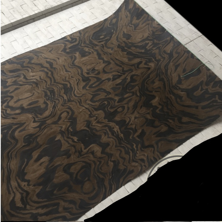 1Pieces Length: 2.5Meters Thickness:0.25mm  Width:60cm   Technology Black Walnut Tree Burl Wood Veneer