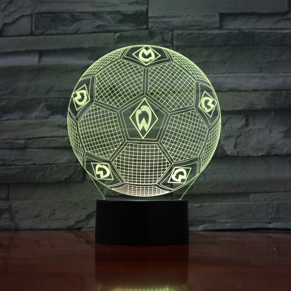 7 Colors Changing 3D Illusion Lamp Soccer Night Lights 3D Desk Light Luminaria Table Football Lamp for Fan's Gift 3D-888