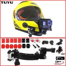 TUYU Gopro Accessories 4 Ways Turntable Button Mount Go Pro Hero 4 5 6 SJCAM SJ4000 EKEN H9 H9R Motorcycle Helmet Chin Bracket