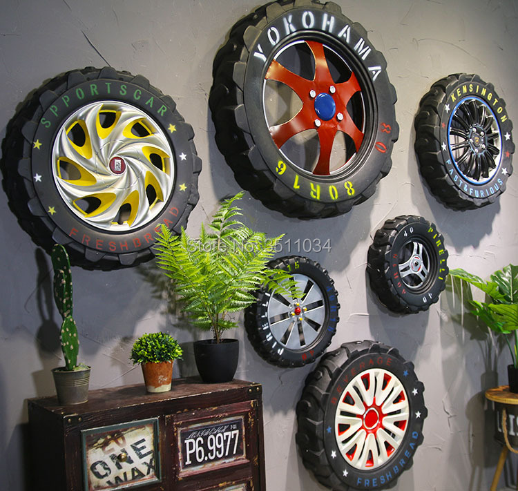 American industrial wind tire hanging bar loft retro clothing store pendant mural creative restaurant wall decoration