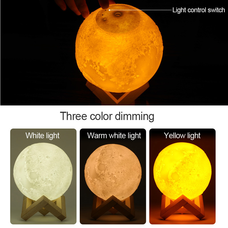 3D Moon Lamp Moonlight Humidifier with 3 Color Changing Night Light USB  Charging Air Humidifier Mist Maker for Home Bedroom