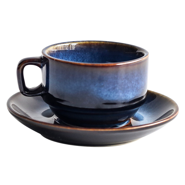 Blue Ceramic Cup & Saucer Set