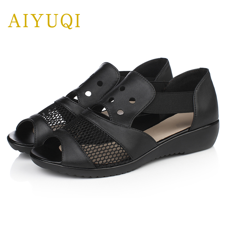 AIYUQI summer new genuine leather women sandals hollow breathable ladies fish mouth sandals plus size 41#42#43#flat mother shoes 2018 new summer women genuine leather sandals fish mouth high heeled waterproof platform mesh hollow fashion sandals shoes women