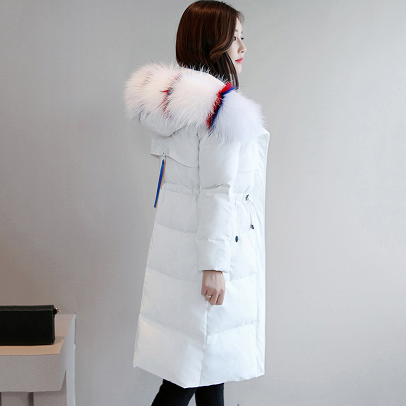Winter Whiter Duck   Down   Jackets 2018 New Slim Warm Women   Down     Coats   Big Fur Collar Hooded Thicken   Down   Outerwear Fashion Parkas