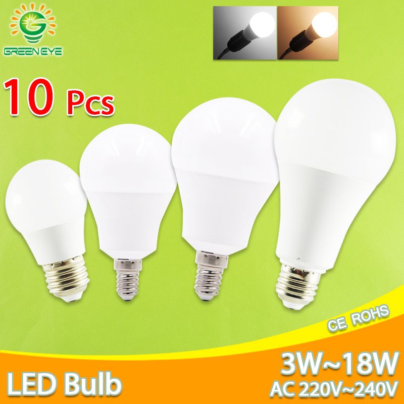 10pcs LED Bulb Dimmable Lamps E27 E14 AC220V 240V Light Bulb Real Power 20W 18W 15W 12W 9W 5W 3W Smart IC Lampada LED Bombilla