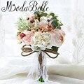 2017 Gorgeous Coral Wedding Bouquet Handmade Bride Artificial Bridesmaid Flower Bouquet In stock Brautstrauss Braut