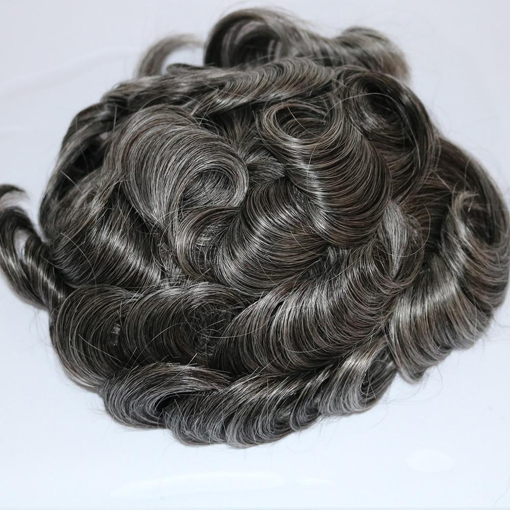 Tupé gris mezclado negro Natural eversedoso para hombres 1B50 superfino Mono Sistema de cabello Natural Cutable Base de reemplazo de cabello