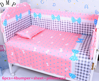 Discount! 6/7pcs Comfortable Baby Bedding Set for Crib Bumpers Sheet ,120*60/120*70cm