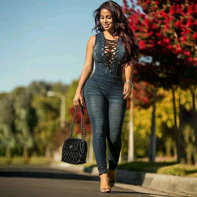 84c71a6a27 New Style Denim Rompers Women Skinny Jeans Sexy Lace-up Deep V Neck Sleeveless  Denim Jumpsuits Sexy Women Jumpsuits NQ966701