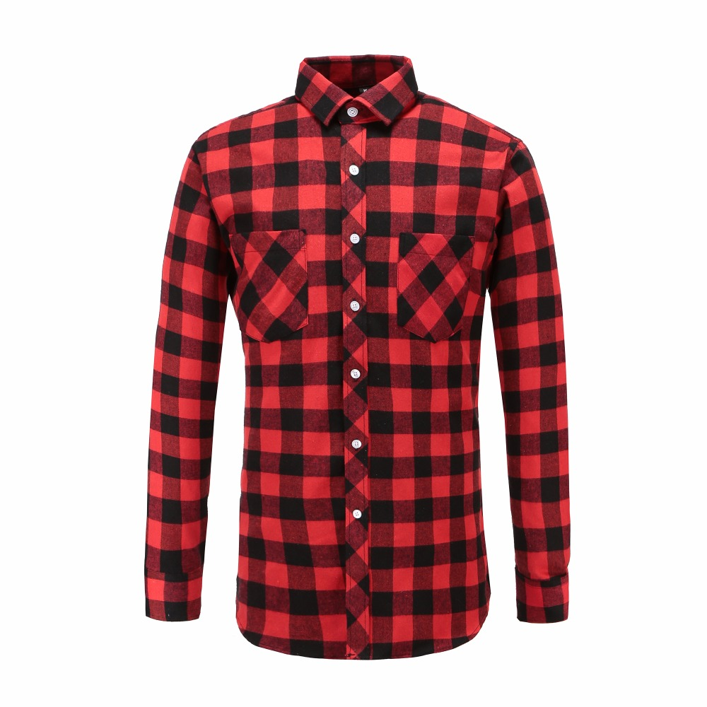 2018 Dioufond Red And Black Long Sleeve Checked Mens Shirt Autumn Winter Plaid Brand Casual Outwear Shirts Fashion Male Blouse