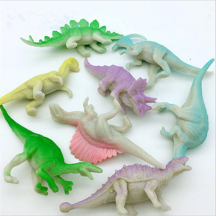 8 Pcs Jurassic Park Anime Figure Dinosaur Pvc Model Glow In The Dark Action Figure Hot Toys For Children Juguete Birthday Gifts