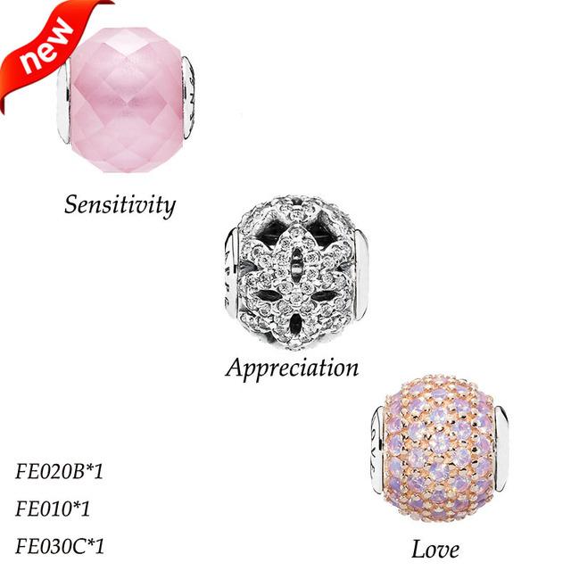 Serve para pandora pulseira encantos de prata 925 essência coleção contas para jóias fazendo apreciação charme amor bes009 sensibilidade