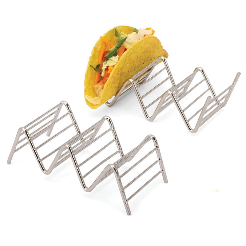 Stainless Steel Taco Holder Hard Soft Shell Hotdogs Burritos Sandwiches Pie Tools Wave Shaped Kitchen Tool