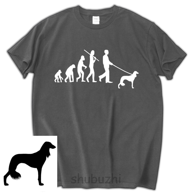Dog Lovers T SHIRT MEN Birthday Gift SALUKI Evolution Of Man Brand Cotton Tee Shirt Shubuzhi