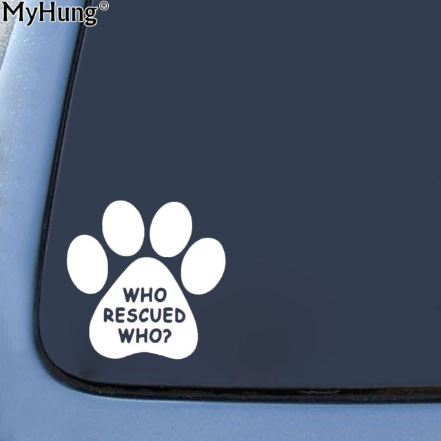 1414cm who rescued who animal dog cat paw vinyl decal bumper car stickers motorcycle