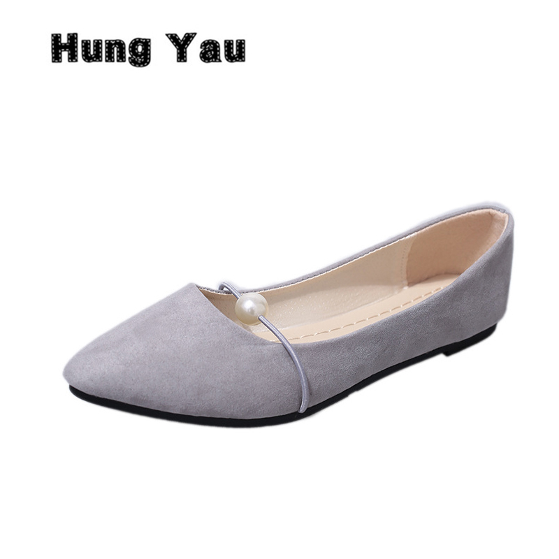 Hung Yau Women Flats Casual Pointed Toe Slip-On Flat Shallow Shoes Soft Comfortable Breathable Leather Shoes Woman Plus Size 41 fashion women shoes woman flats high quality comfortable pointed toe rubber women sweet flats hot sale shoes size 35 40