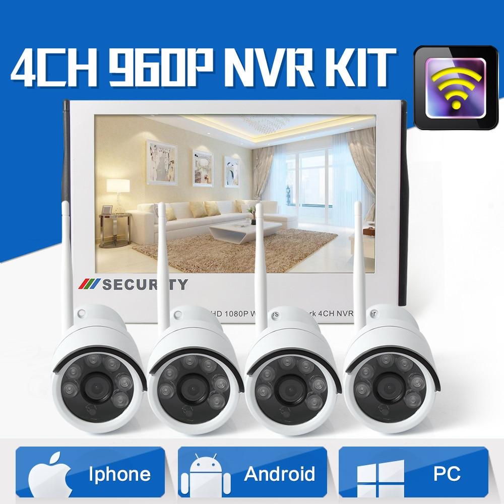 4CH 960 P Plug and Play дисплей WiFi NVR комплект с 10,1 дюймов 1080 P ЖК монитор 4*1,3 Мп Беспроводная ip камера для домашней безопасности магазина