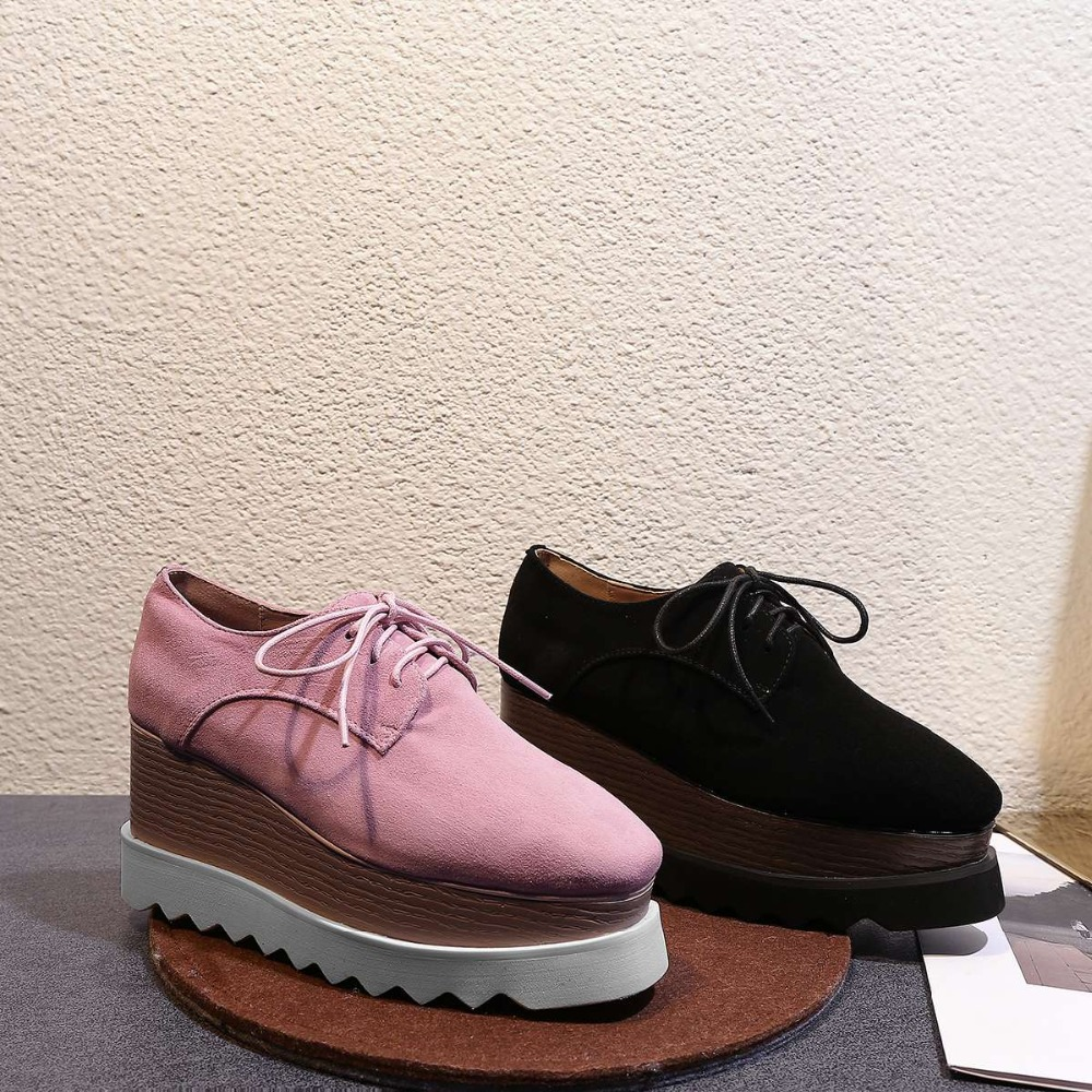 2019 European Punk style plus size square toe waterproof high heels pumps natural leather lace up party dating casual shoes L23 - 5