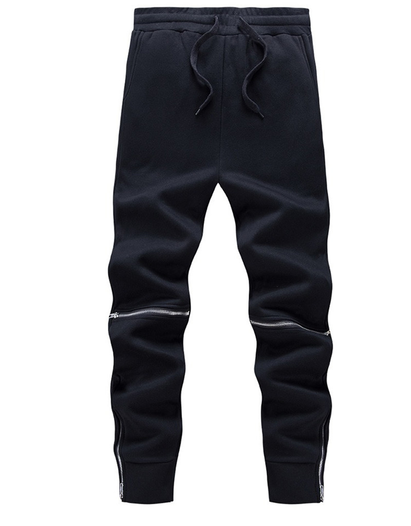 7c8c6d0a437b1 Autumn Winter Thick Fleece Casual Pants Men Solid Black Cotton Warm ...