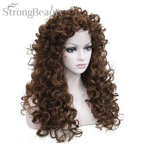 Image 2 - Perruque synthétique bouclée Blonde brune noire, perruque de Cosplay longue pour femmes
