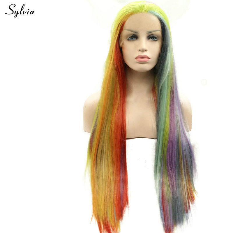 Sylvia Mixed Color Rainbow Colorful Long Straight Lace Front Wigs Synthetic Heat Resistant Fiber Summer Cosplay