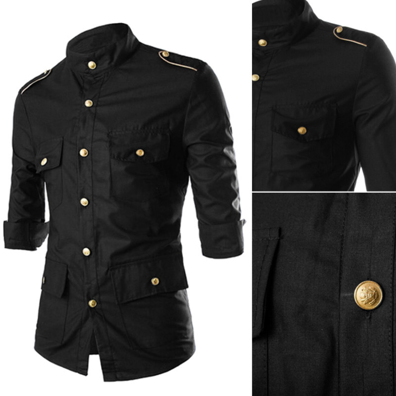 New 2016 mens fashion gold epaulets muitl button pockets for Mens button collar shirts