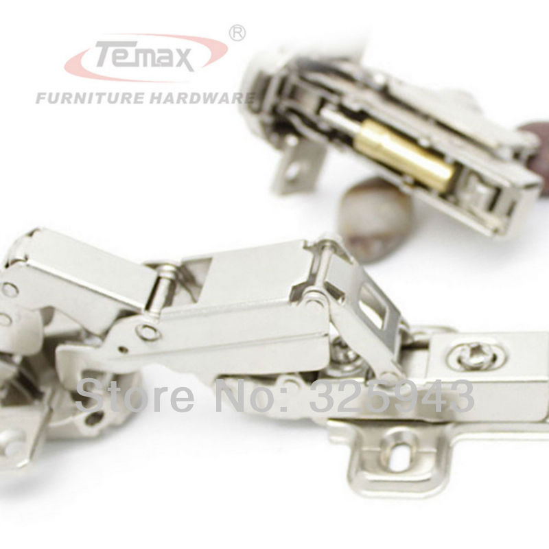 Full overlay Temax Furniture Hinge Steel And Brass Buffer Hydraulic Cabinet Door Hinges 165 degree Clip-on Soft Close 2pcs set stainless steel 90 degree self closing cabinet closet door hinges home roomfurniture hardware accessories supply