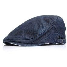 Male Casual Denim Ivy Hats Men Casual Newsboy Caps Flat Peaked Hat Women Jean Berets