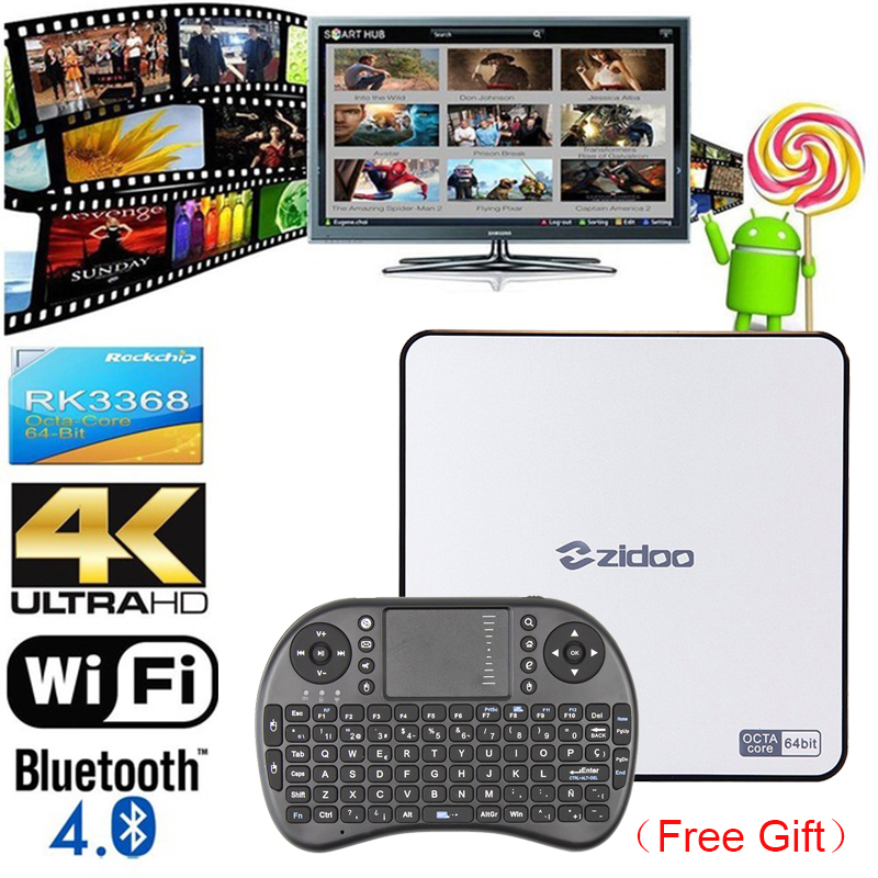 RK3368 TV Box ZIDOO X9 Android 5.1 Octa Core 2GB 16GB Bluetooth Dual Wifi 3D Smart Media Player 4K H.265 Android TV Set Top Box zidoo x6 pro android 5 1 lollipop octa core tv box rk3368 2gb 16gb 1000m lan dual band wif bt4 0 4k 2k h 265 kodi 3d