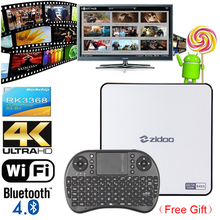 RK3368 TV Box ZIDOO X9 Android 5.1 Octa-core 2 GB 16 GB Bluetooth Dual Wifi 3D Smart Media Player 4 Karat H.265 Android TV Set Top Box(China (Mainland))
