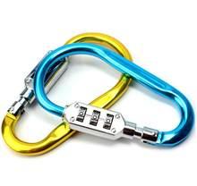 Saco de caminhadas ao ar livre bagagem segurança mosquetão bloqueio 3 dial senha cadeado ferramenta portátil bagagem liga zinco trava segurança