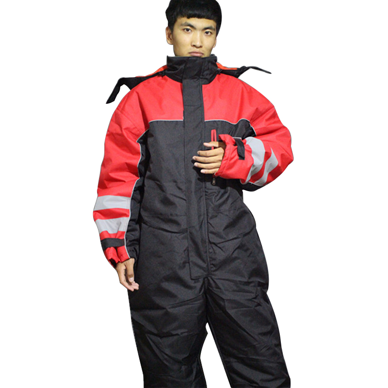 Winter work clothing warm cotton padded hooded overalls safety clothing outdoor working uniforms thicken protective coveralls